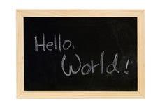 Hello world. Blackboard writing  white words of Hello World Royalty Free Stock Photos