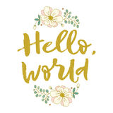 Hello, world. Bright letters. Modern, stylish hand drawn lettering. Hand-painted inscription. Hello world. Flowers, nature, summer. Bright letters. Modern Stock Photography