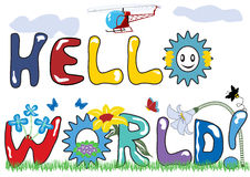 Hello world letters. With original font and with decorations Royalty Free Stock Photos
