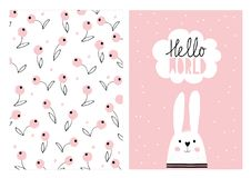 Hello World, White Cute Rabbit. Hand Drawn Baby Shower Vector Illustration Set. White Speech Bubble, Pink Backround. Pink Blueberries, White Background. Hand stock illustration