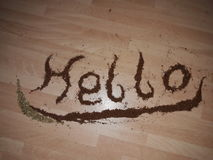 Hello wrote with seasoning royalty free stock photography