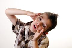 Hello you. Six year old boy telling a story royalty free stock photos