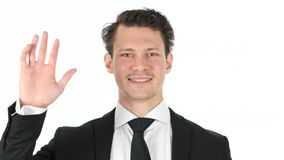 Hello by Young Businessman on White Background Stock Image