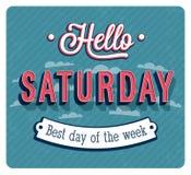 Hello-Zaterdag typografisch ontwerp Stock Foto's