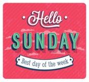 Hello-Zondag typografisch ontwerp Stock Fotografie