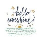 Hello-zonneschijn vectorkaart met uitstekende zon, overzees en sterren Inspirational en motievencitaten Hand het van letters voor royalty-vrije illustratie