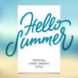HELLOO SUMMER hand lettering calligraphy template and beach back Stock Images