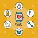 Hellorangees Plakat des gesunden Lebensstils mit Uhrpulsierenüberwachung und der gesunden Ikonen herum Stockfotografie