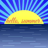 HelloSummer-01. Sunrise on Sea and the Word 'Hello Summer royalty free illustration