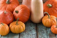 Helloween,收获节日,感恩 明亮的橙色南瓜 免版税库存照片