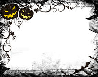 Helloween. Grungy Helloween background with pumpkins and floral design Stock Photo