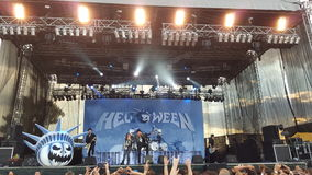 Helloween band. The band Helloween performing on stage in Bucharest in 2015, Romania Stock Photography
