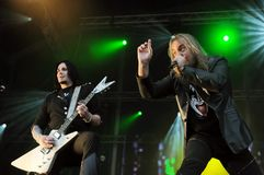 Helloween Band. Rio de Janeiro, September 22, 2013.nVocalist Andi Deris and guitarist Sascha Gerstner of the band Helloween, during their show at Rock in Rio Stock Photography