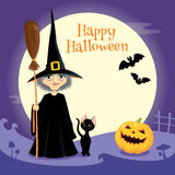 Helloween company. Illustration of Helloween company: witch, black cat and pumpkinghead Royalty Free Stock Image