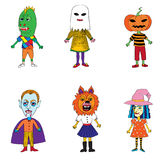 Helloween costumes drawings Royalty Free Stock Photos