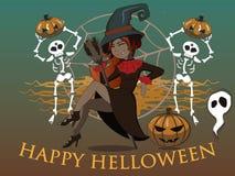 Helloween Häxa och skelett Onda skuls och witcher vektor illustrationer