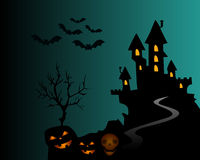 Helloween. Halloween composition with horror house and popular holiday attributes Royalty Free Stock Photography