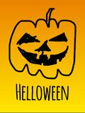 Helloween party night. Pumpkin orange hand drawing Stock Photo