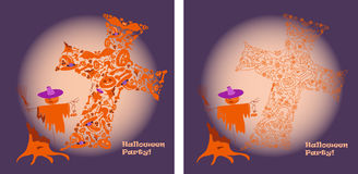 Helloween party wow. Helloween party lilac backgraund, 2 variant Stock Photography