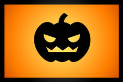 Helloween pumpkin. Illustration of helloween pumpkin on the orange background Royalty Free Stock Images