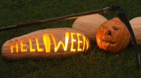 Helloween pumpkin. BIg real helloween pumpkin on the grass Royalty Free Stock Images