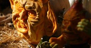 Helloween pumpkin carving stock video