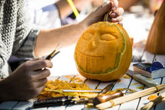 Helloween pumpkin carving. For helloween night party. Last night of October stock images