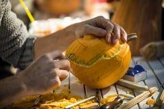 Helloween pumpkin carving Stock Images