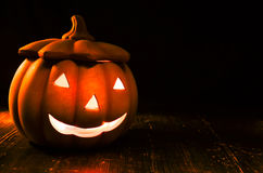 Helloween pumpkin. Halloween bright eyes nose and mouth Royalty Free Stock Images