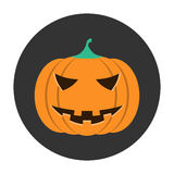 Helloween pumpkin icon. Helloween orange pumpkin icon flat Royalty Free Stock Photos