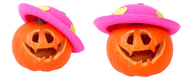 Helloween pumpkin with pink head Royalty Free Stock Images