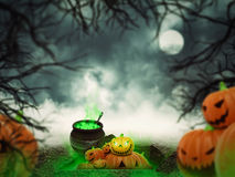 Helloween pumpkins in the forest Stock Photos