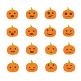 Helloween pumpkins with many expressions. Vector Stock Photo