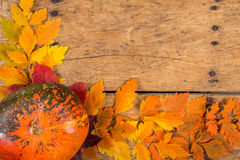 Helloween pumpkins over an old rustic vintage table Stock Photos