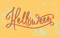 Helloween. Quote lettering in vector. Autumn mood and colors. Funny and handdraw brushpen modern calligraphy. Vintage background Stock Images
