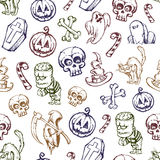 Helloween seamless texture. Set of funny hand-drawn characters. Vector illustration Stock Photography