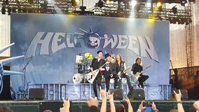 Helloween on stage. During performance in Bucharest, Romania Stock Photos