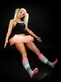 Helloween. Young pretty blond woman in a helloween outfeet Stock Image
