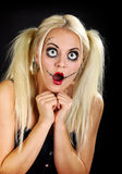 Helloween. Young pretty blond woman in a helloween outfeet Stock Photography