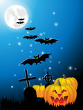 Hellowin night. Abstract background with pumpkins, bats and crosses Stock Images