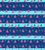 Hellpurpurner Vektor von kleinen Dreiecken auf dem Blau gestreift Lizenzfreie Stockfotos