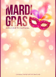 Hellrosa Mardi Gras-Plakatschablone mit bokeh Stockbilder
