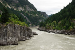 Hells Gate in Fraser Canyon River and Canadian Railway Stock Images