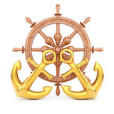 Helm and anchors. On white background. 3d rendering image Royalty Free Stock Photo