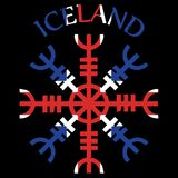 Helm of awe, helm of terror, Icelandic magical staves, Aegishjalmur, with Iceland flag. Vector illustration Royalty Free Stock Photo