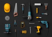 Helm, boor en bouwhulpmiddelen Stock Afbeelding