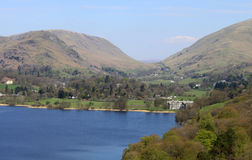 Helm Crag, Steel Fell, Dunmail Raise and Grasmere. View from Loughrigg Terrace looking across Grasmere (lake) to Grasmere village, Helm Crag (with Lion and Lamb Royalty Free Stock Photography