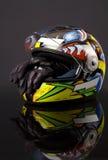 Helm en handschoen royalty-vrije stock fotografie