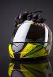 Helm en handschoen stock fotografie