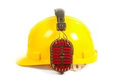 Helm en hoofdtelefoons Royalty-vrije Stock Foto